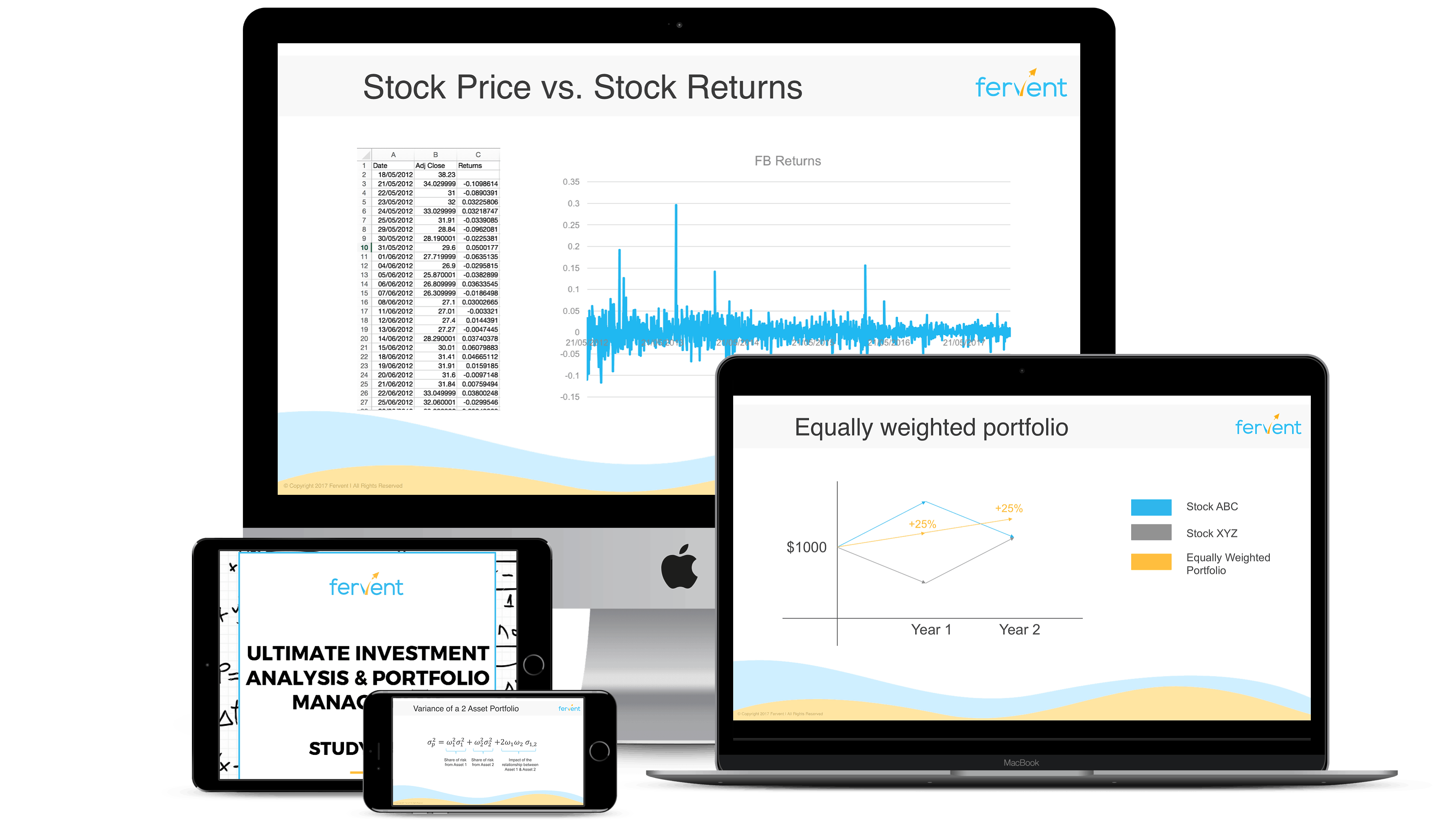 Image showcasing finance and investing courses that are accessible across all devices