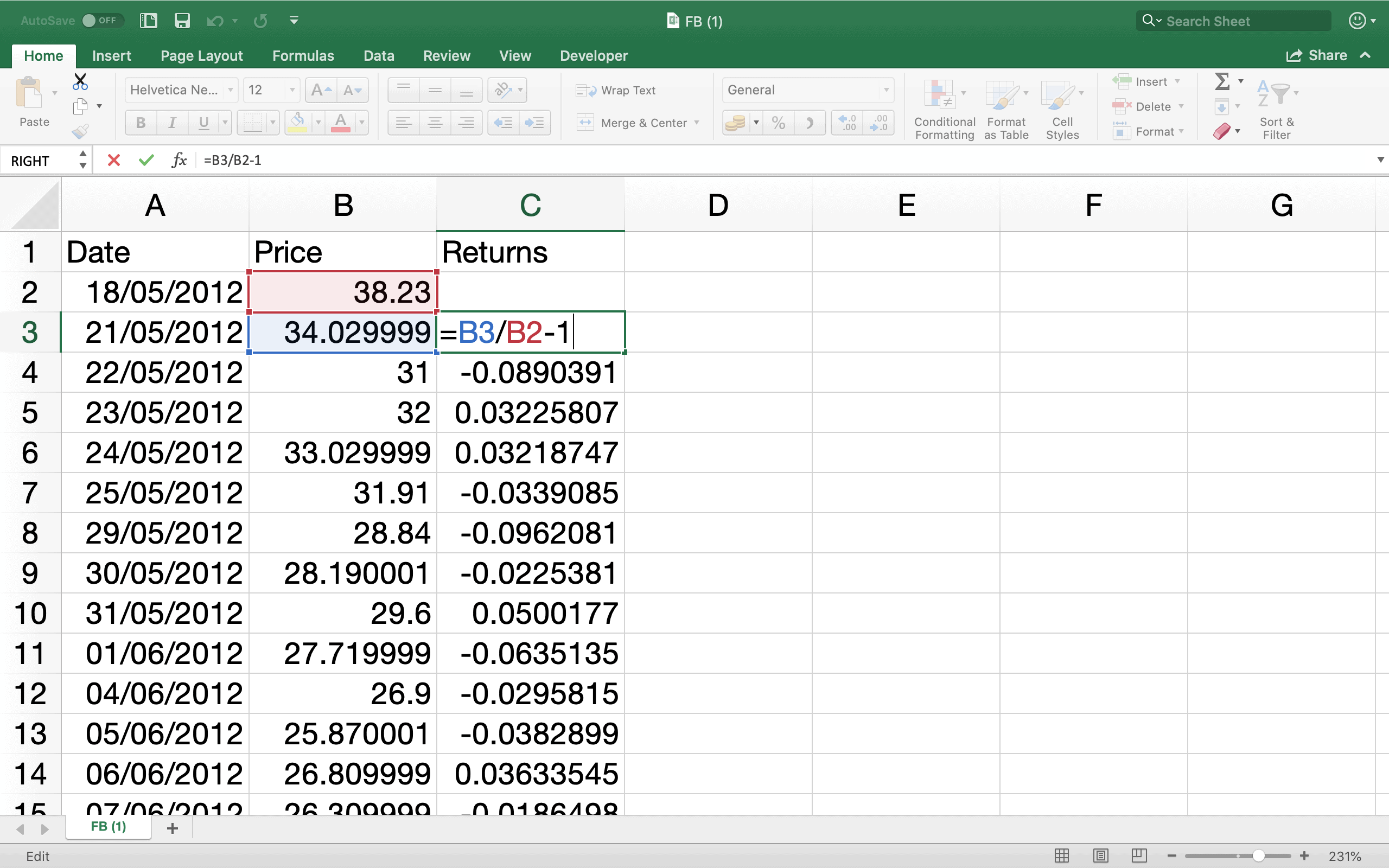 Calculate Stock Returns on Excel