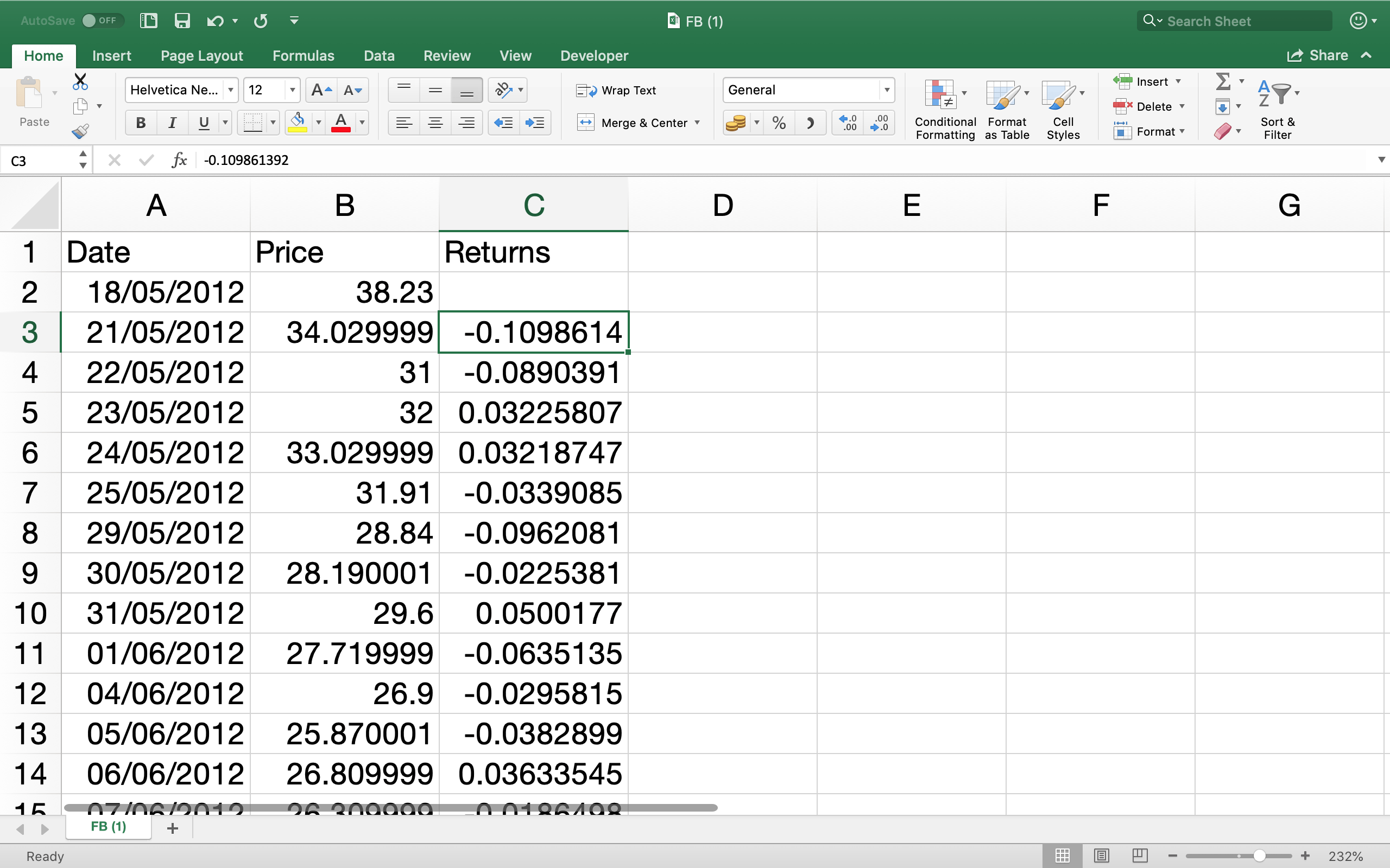 Calculating stock returns for all days on Excel