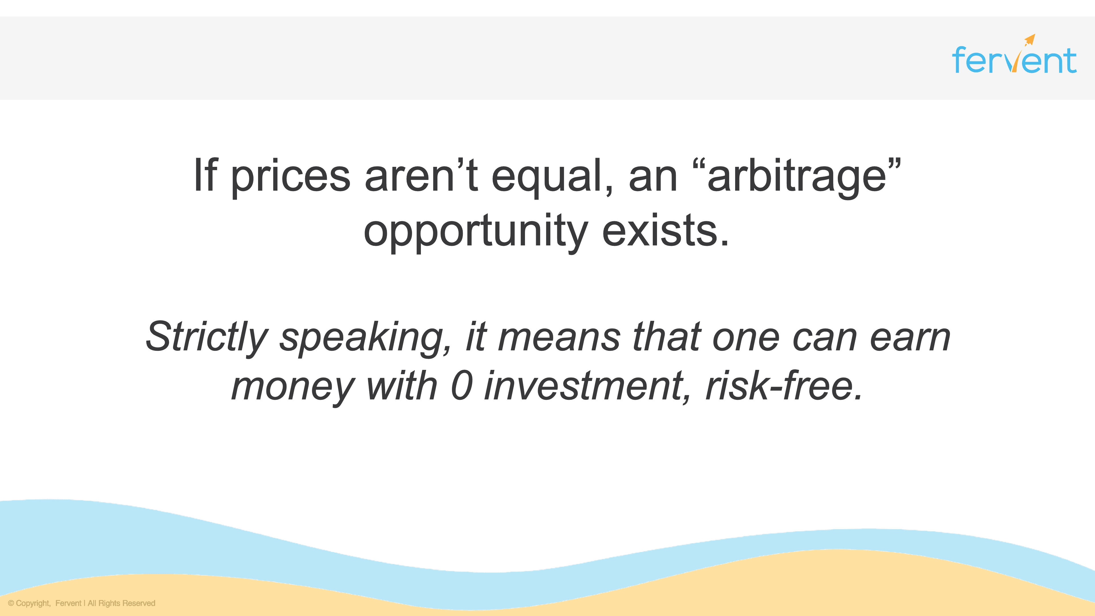 Slide explaining arbitrage in the context of investment fundamentals
