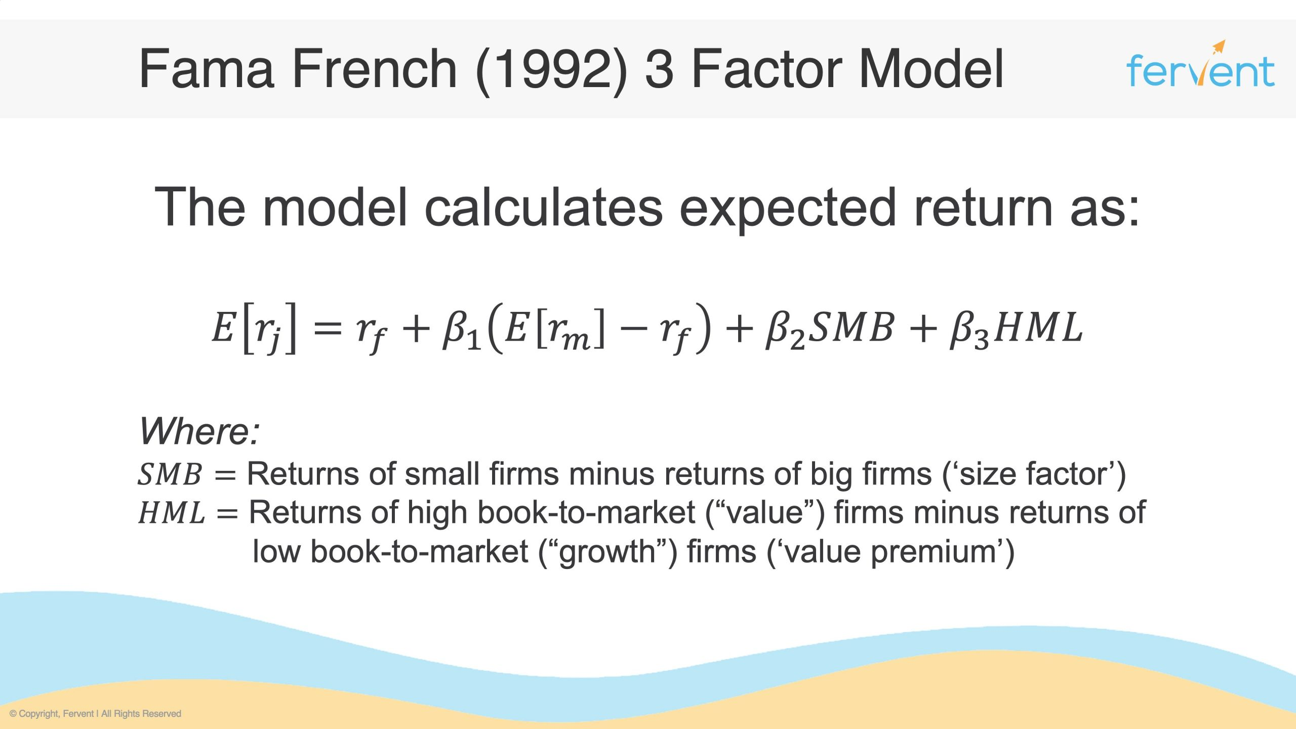 Slide showcasing an example of Asset Pricing Models - Fama French 3 Factor Model