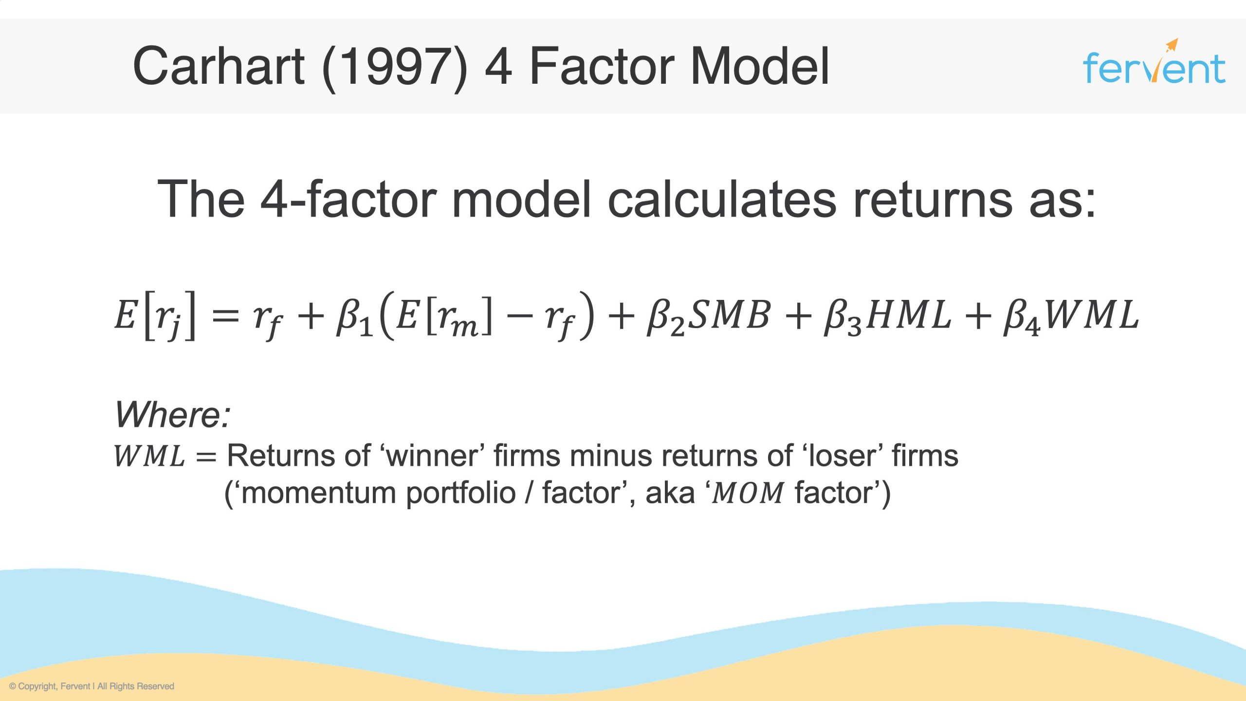 Slide showcasing another example of Asset Pricing Models - the Carhart 4 Factor Model
