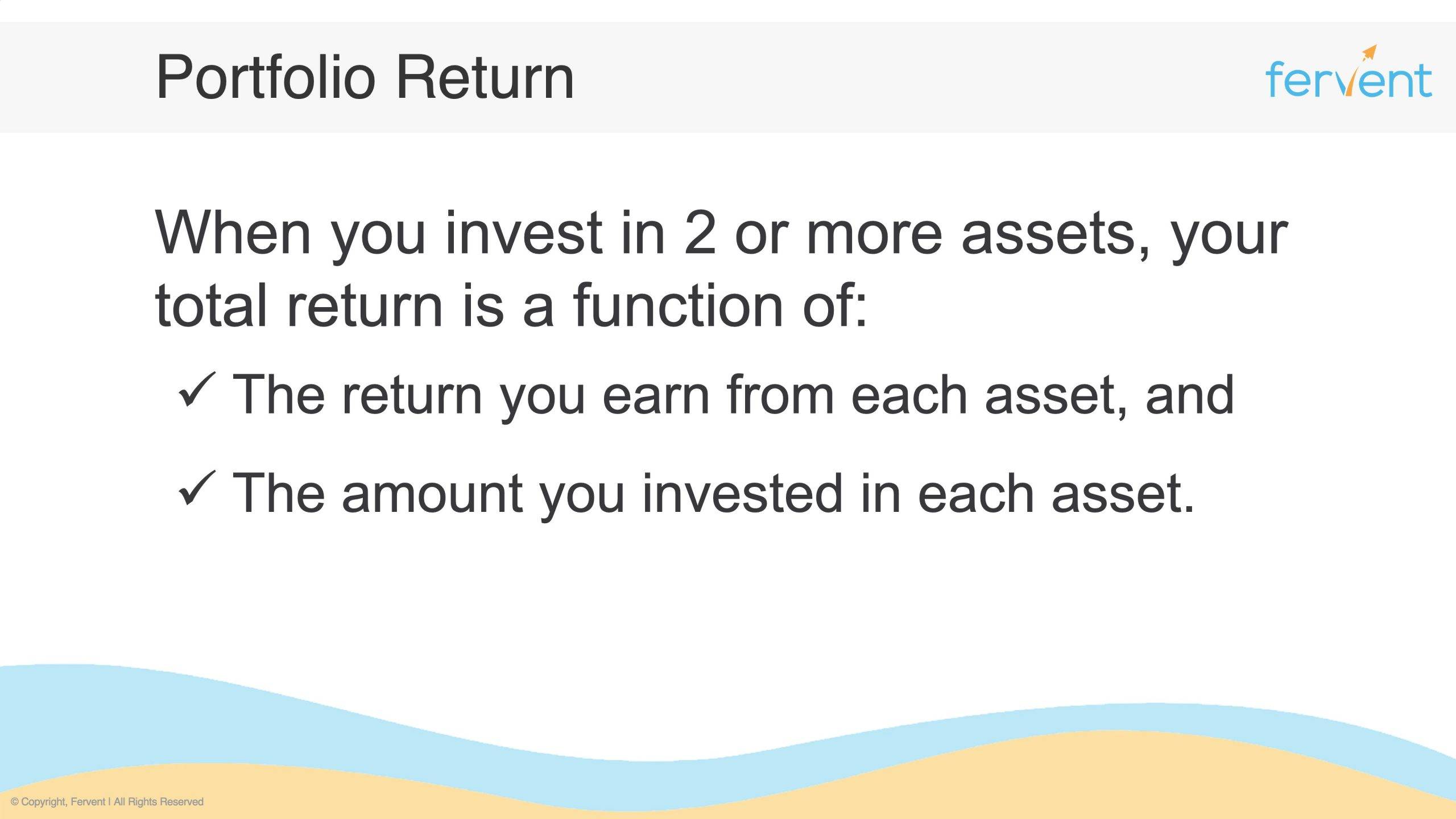 Slide showcasing how to calculate portfolio returns by displaying the 2 key attributes