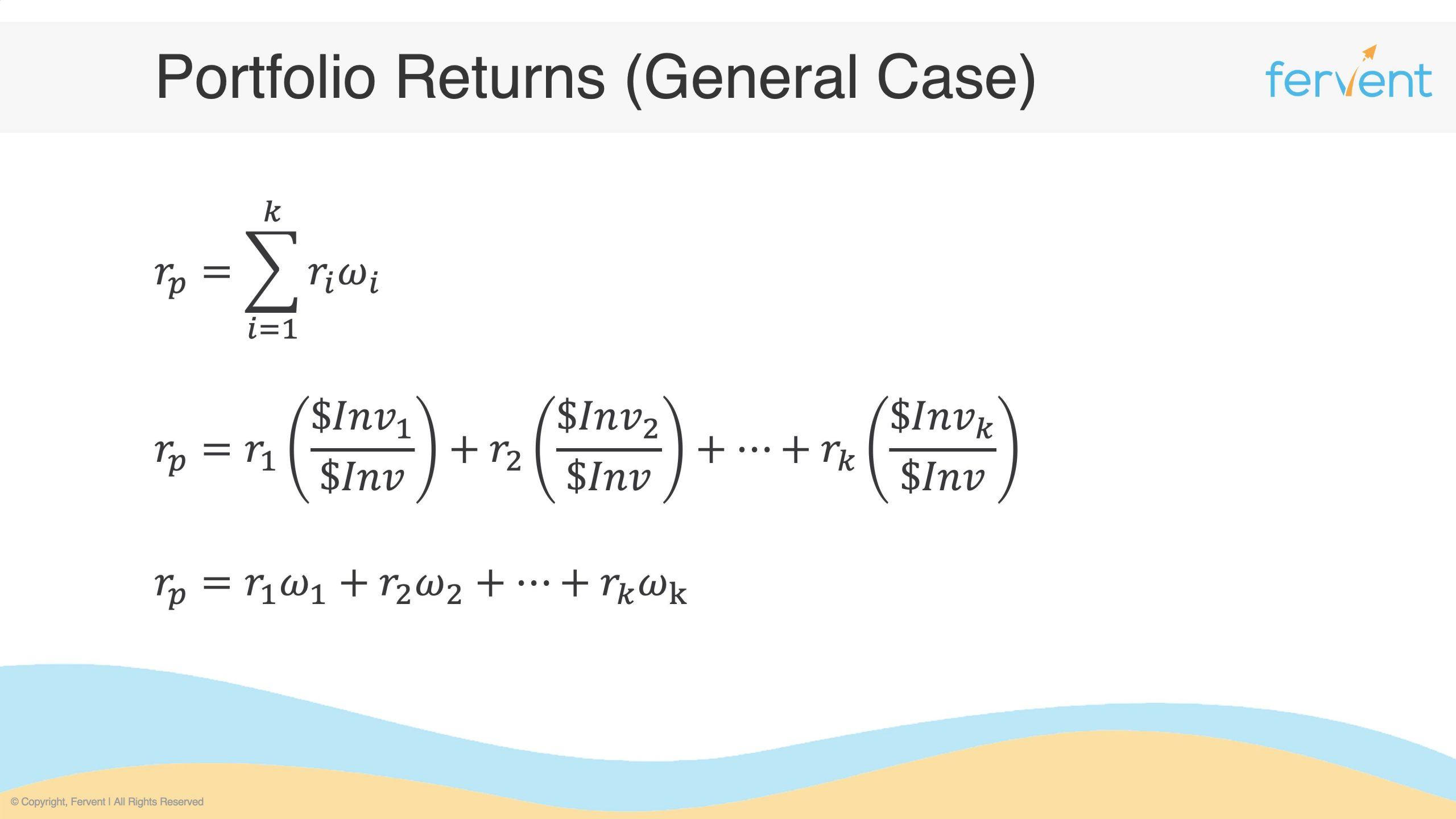Slide showcasing how to calculate portfolio returns from summarised to expanded equation
