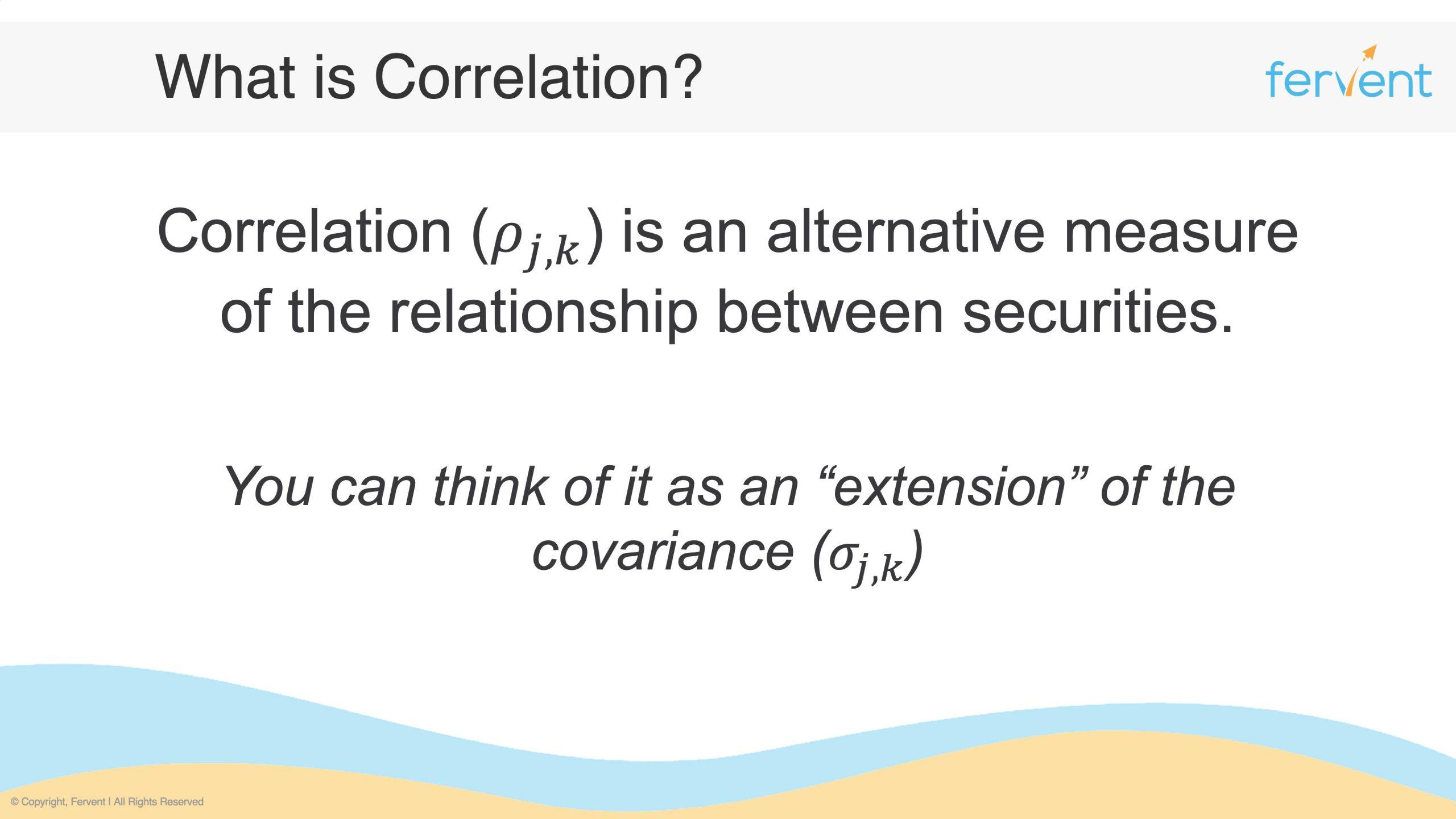 Slide showcasing what is correlation of stocks