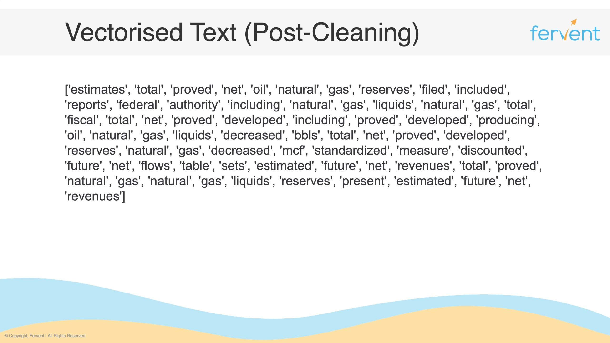 Slide showcasing cleaned words (after text cleaning) as part of the core fundamentals on how to clean text data
