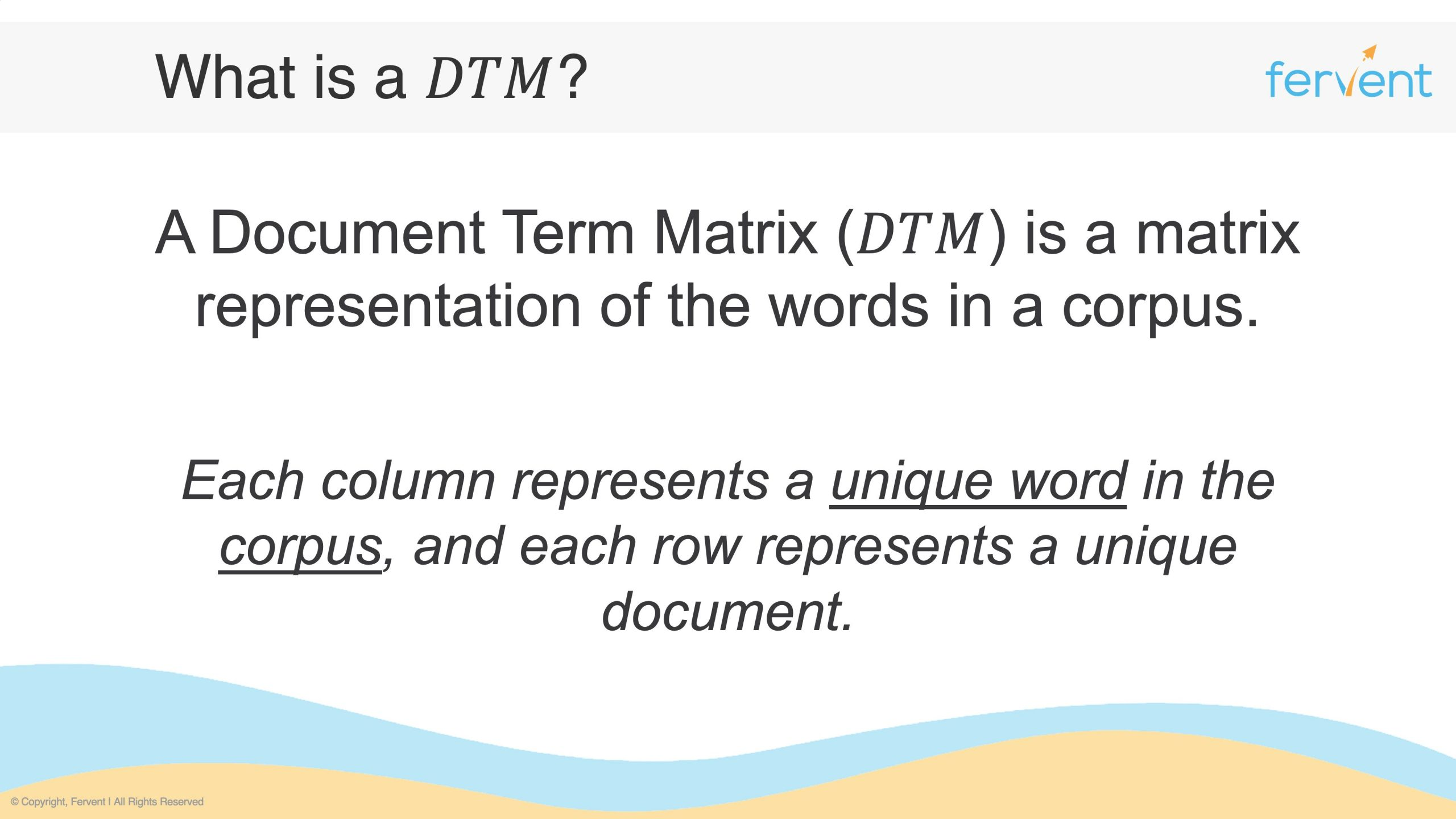 Slide showcasing what a document term matrix is