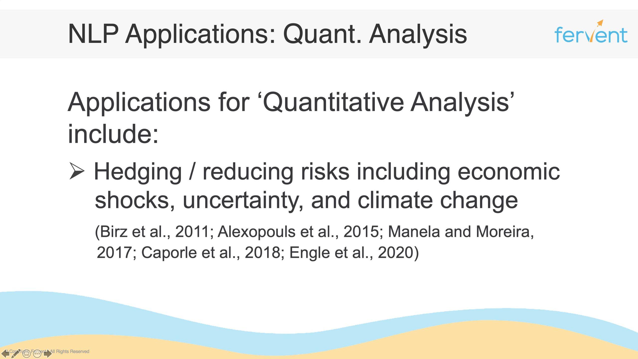 Slide showcasing NLP Applications in Finance for Quantitative Analysis
