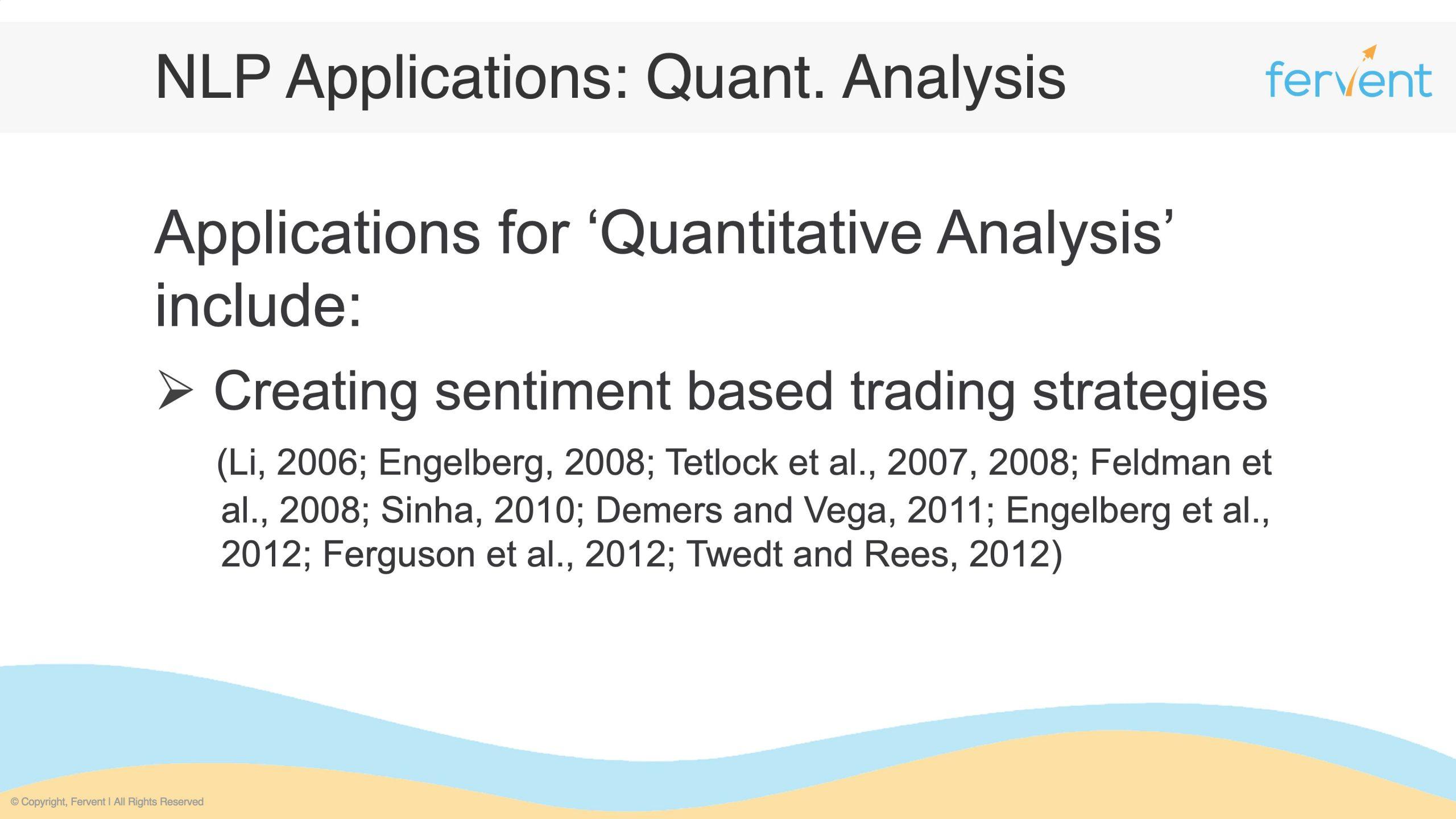 Slide showcasing additional applications in Quantitative Analysis
