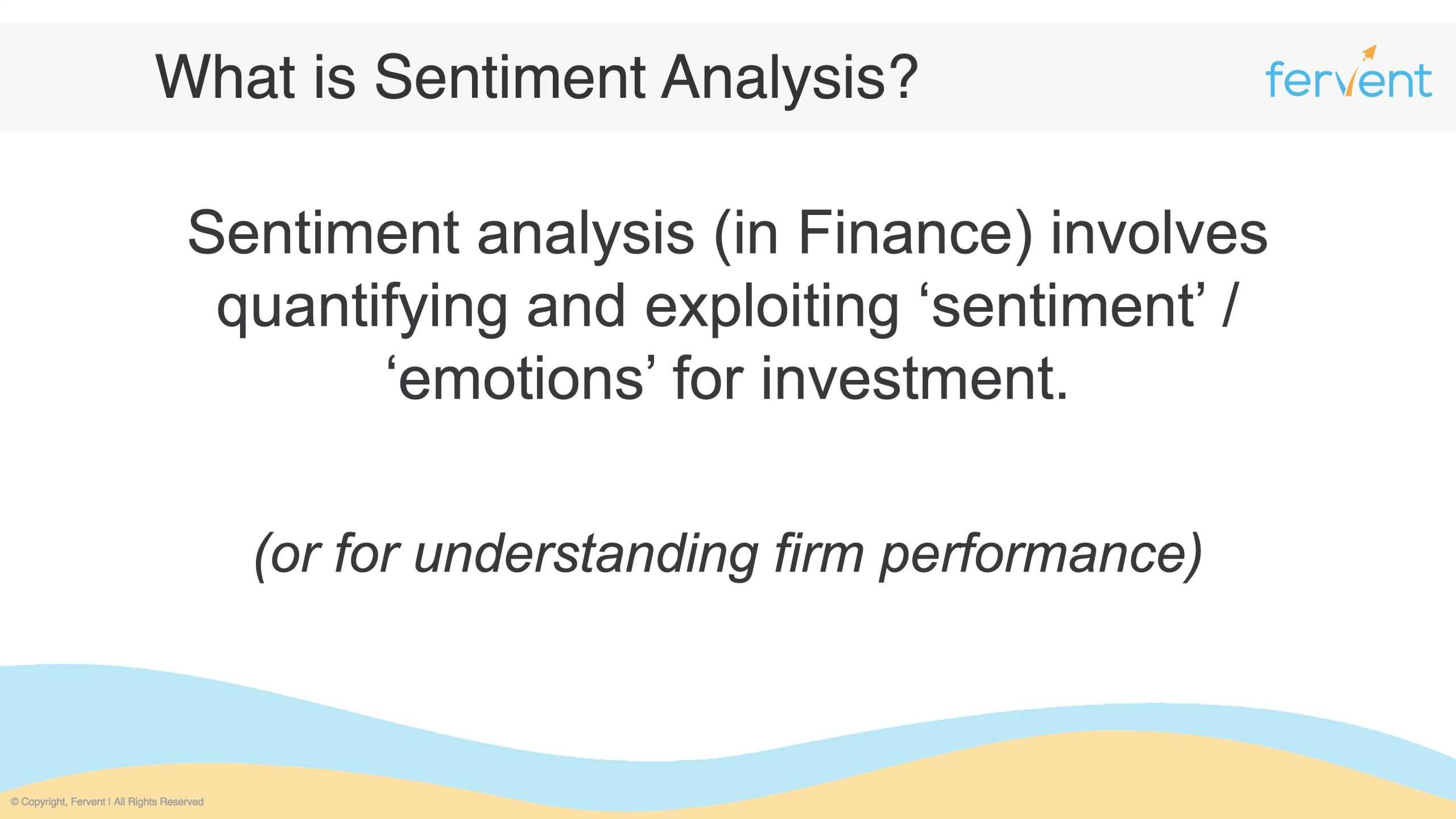 Slide showcasing a simple definition of sentiment analysis