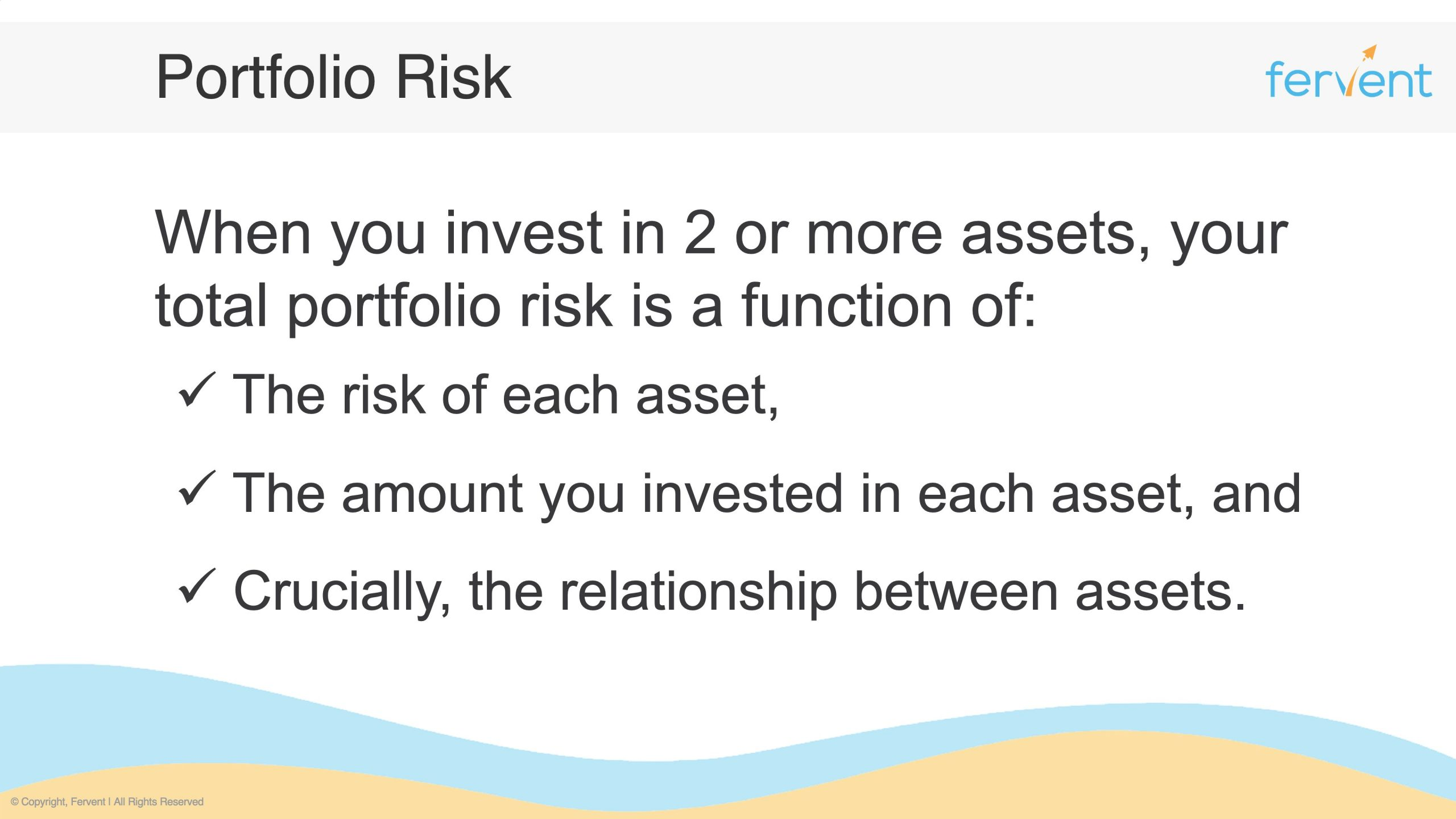 Slide showcasing the 3 factors required to calculate portfolio risk