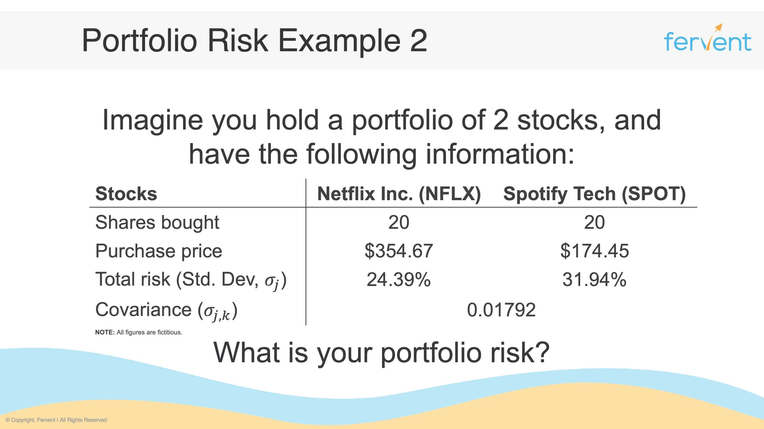 Slide showcasing example question on how to calculate portfolio risk