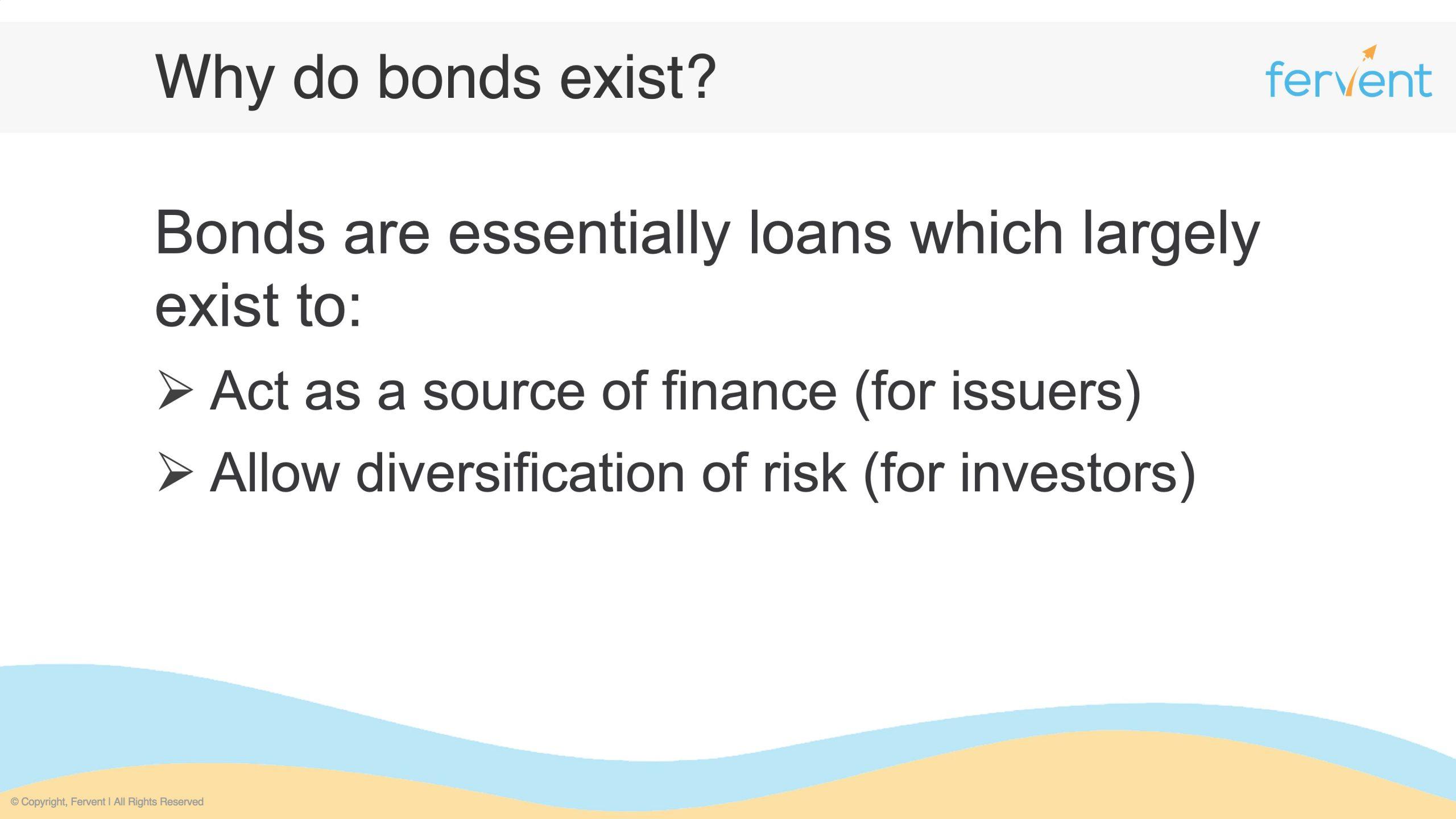 Slide showcasing how do bonds work by explaining their purpose