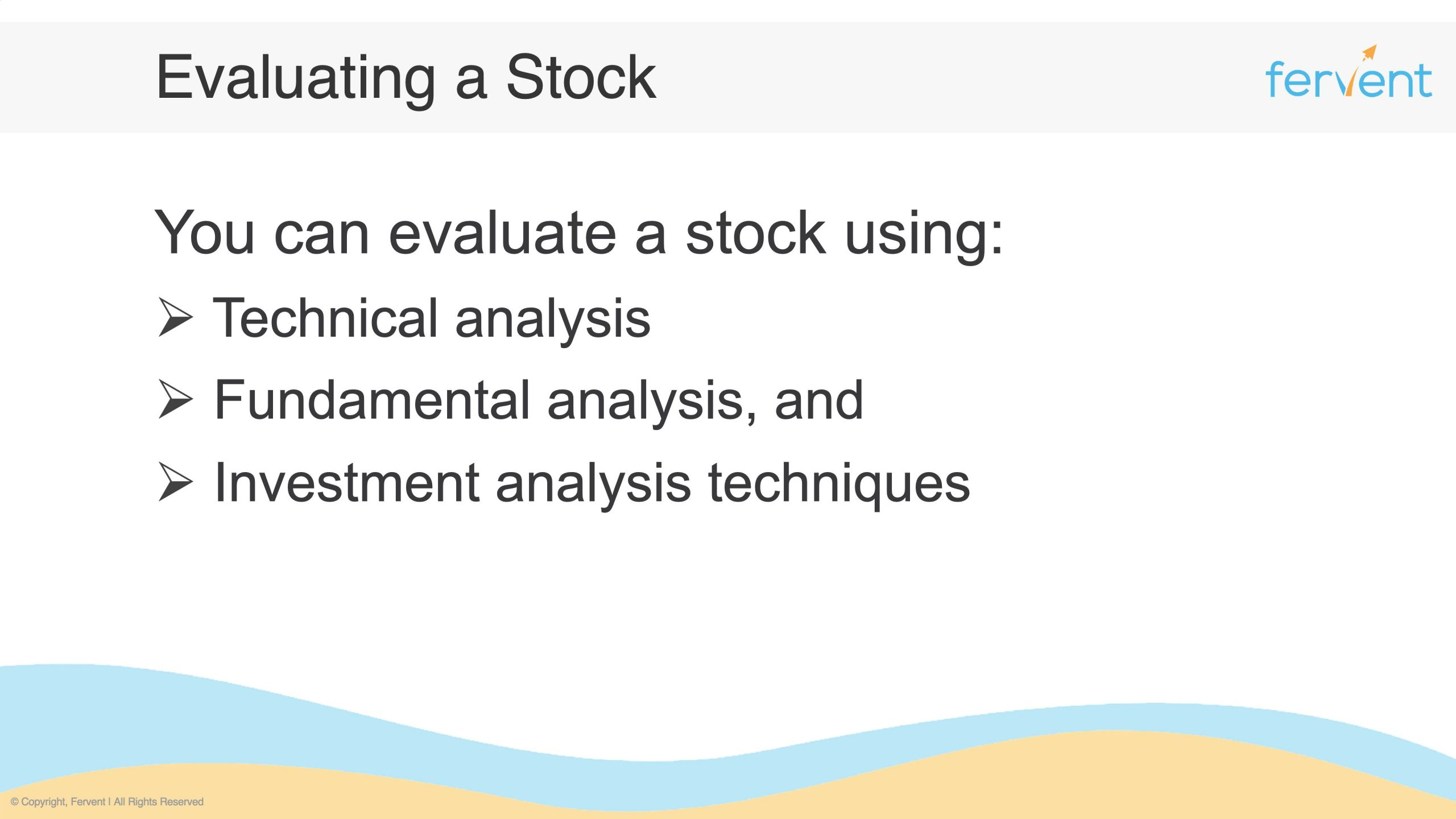 Slide showcasing how to evaluate a stock in the 3 main analysis approaches