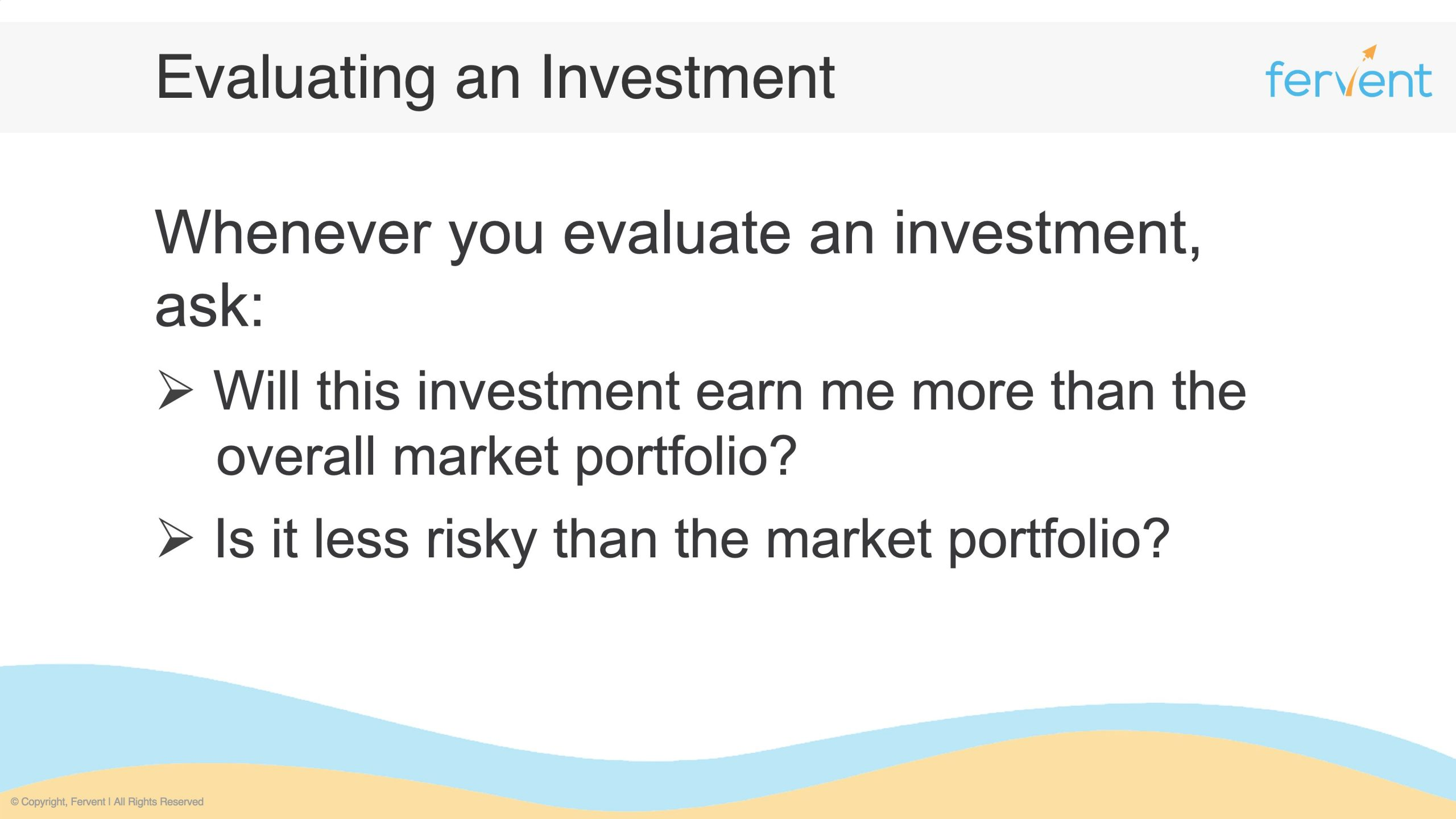Slide showcasing the main questions to ask when evaluating a stock or investment